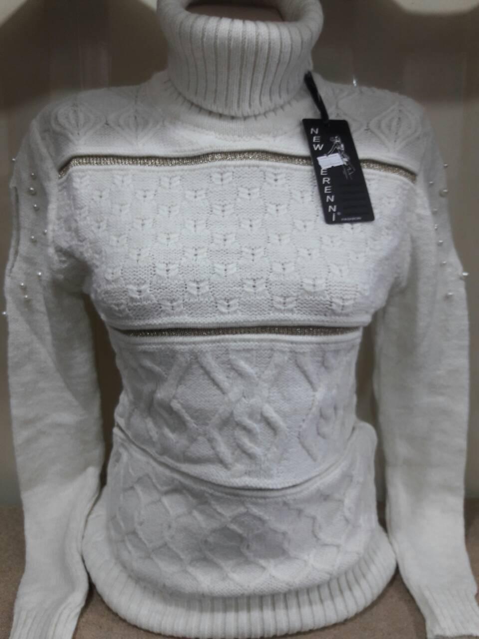 Теплый свитер под горло декор бусины на рукавах р. 44-48 Турция