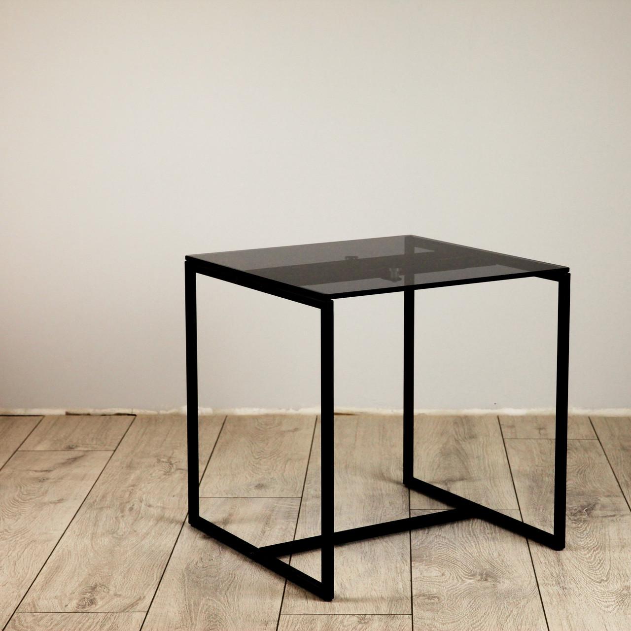 Стол журнальный Куб 400/450 стекло 8 мм Графит - черный (Cub 400/450 gray8-black)