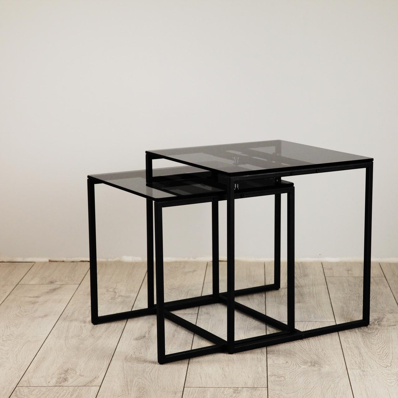 Комплект столов журнальных Куб 400 и Куб 450 - стекло Графит 8 / черный (Loft Cub Gray8-black)