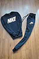 Спортивний костюм чоловічий Nike Найк чорний з білим написом (репліка)