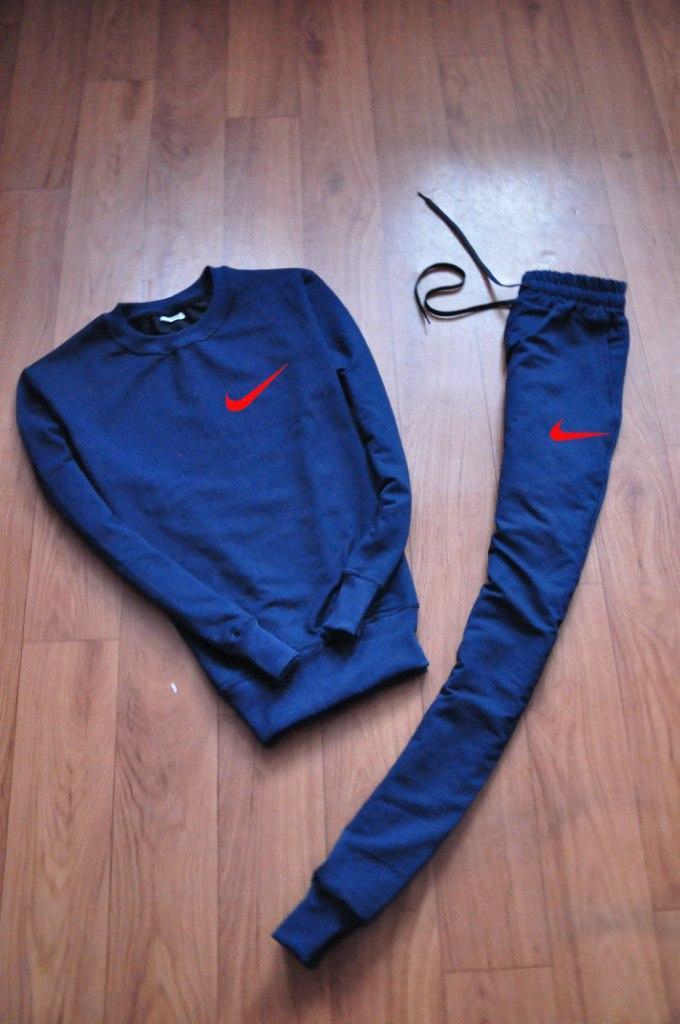 Спортивный костюм мужской Nike Найк темно-синий с красным лого (реплика)