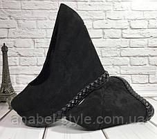 Туфли замшевые черного цвета на танкетке снизу украшены косичкой Код 1792, фото 2