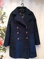 Пальто на девочку, р. 122-134, цвет темно-синий