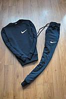 Спортивний костюм чоловічий Nike Найк чорний з маленьким білим лого (репліка)