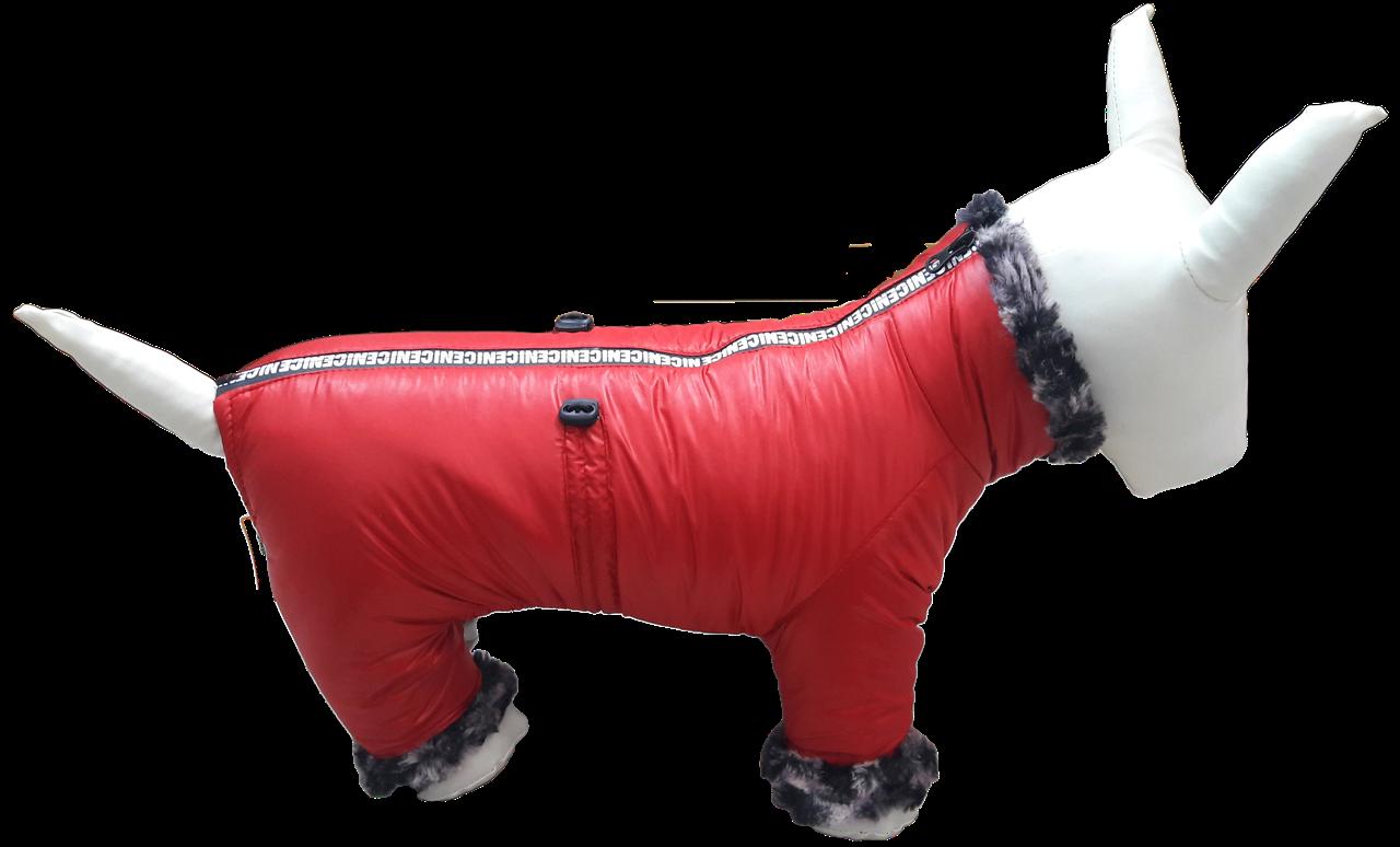 Зимний красный комбинезон с флисовой подкладкой