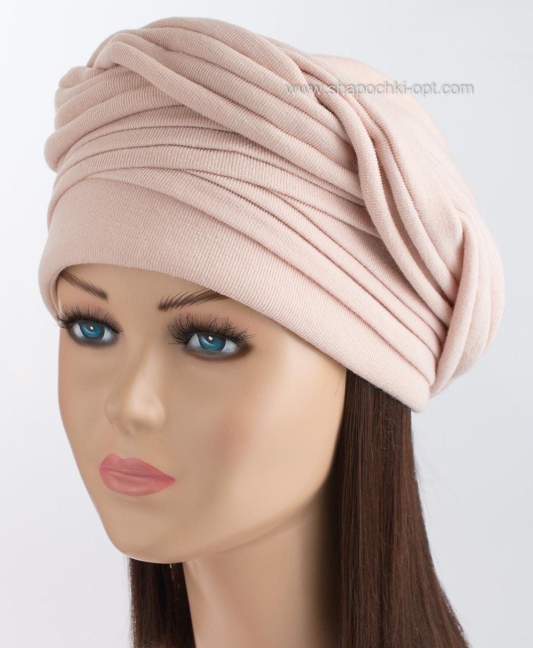 Трикотажная шапка женская Ника бежевого цвета