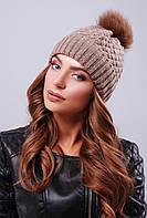 Женская теплая вязаная шапка двойная с меховым помпоном цвет кофе