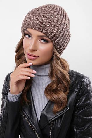 модная женская зимняя вязаная шапка с двойным подворотом цвет кофе