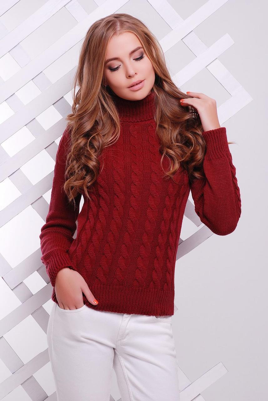 f548f221cab4 Вязаный женский свитер под горло с узором в косичку бордовый