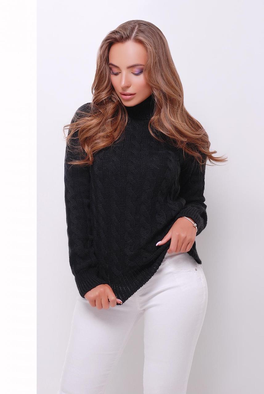 5cfa35710a84 Вязаный женский свитер под горло с узором в косичку черный