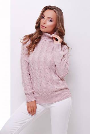 теплый женский вязаный свитер с воротником под горло в косичку цвет