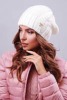 Модная женская вязаная шапка бини с бантиком молочного цвета
