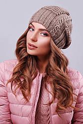 Модна жіноча тепла в'язана шапка-біні з візерунками колір кави