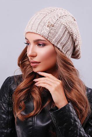 Модна жіноча тепла в'язана шапка-біні з візерунками колір капучіно, фото 2