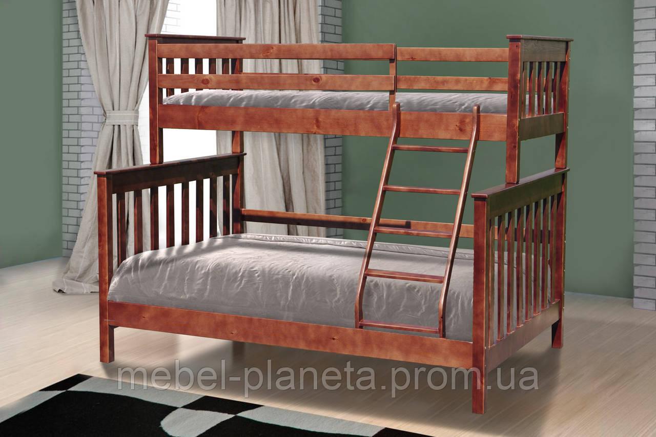 """Ліжко двоярусне дерев'яне """"Скандинавія"""""""