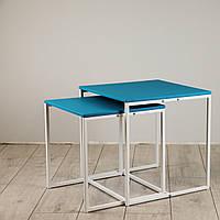 Комплект столов журнальных Куб 400 и Куб 450 - Мятный / белый (Loft Cub Mint-white)