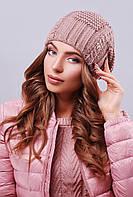 Модная женская теплая вязаная шапка-бини с узорами цвет фрез