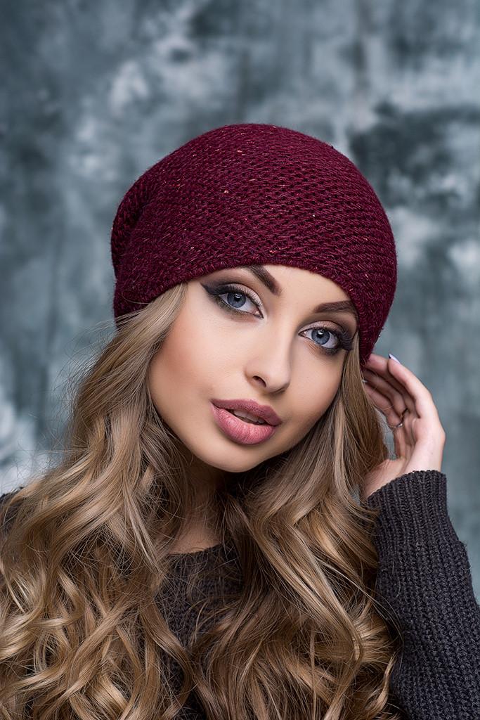 Женская шапка с люрексом Тиана бордовая