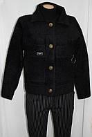 Женский пиджак, ангора, черного цвета, длинный рукав, карманы