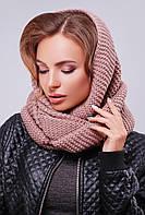 Вязаный женский шарф-снуд на два оборота цвет фрез