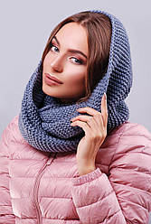 Жіночий в'язаний шарф-снуд на два оберти колір джинс світлий