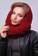 Вязаный женский шарф-снуд на два оборота бордовый