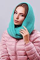 Красивый женский теплый вязаный шарф-снуд зеленый