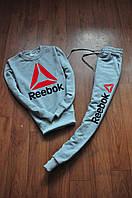 Спортивний костюм чоловічий Reebok сірий з червоно-чорним лого (репліка)