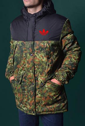 a9ed3e937299 Парка мужская Adidas камуфляжная-черная с красным логотипом топ реплика