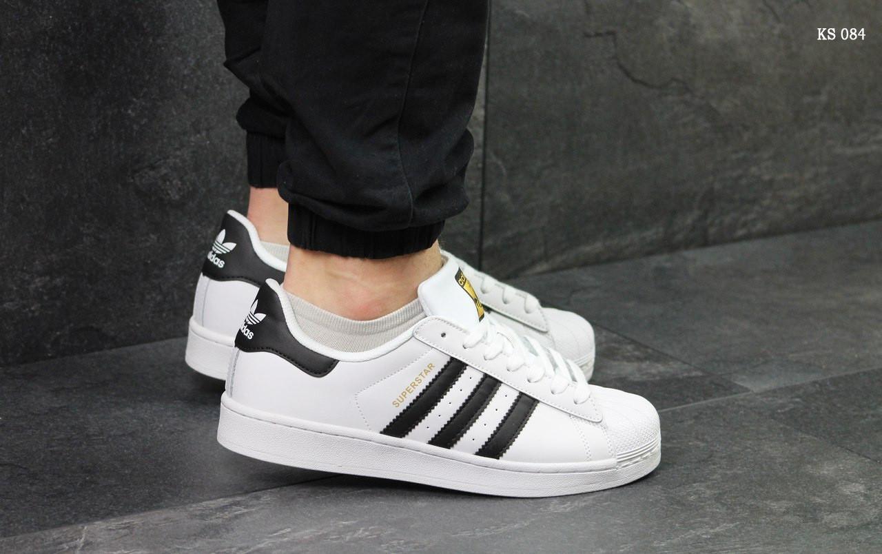 Мужские белые кроссовки Adidas Superstar белые