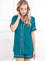 Короткая шелковая пижама 24269 Gepur L бирюзовый