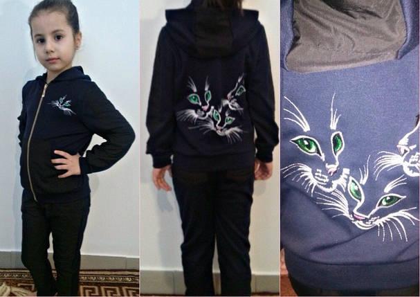 """Детский спортивный костюм для девочки """"Котята"""" с вышивкой (2 цвета), фото 2"""