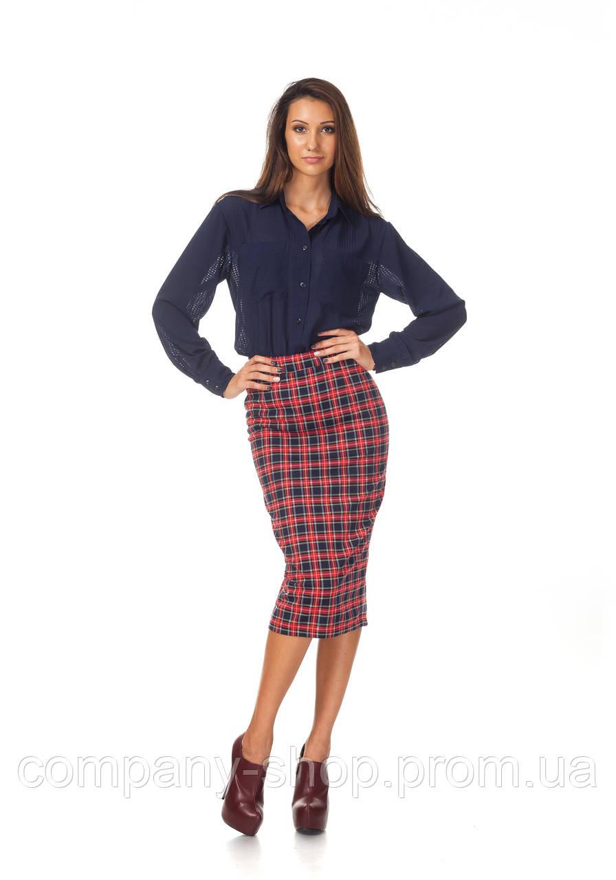 Женская шерстяная юбка в елочку. Модель Ю065_клетка красная