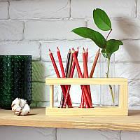 Деревянная подставка для канцелярии (с 1 цилиндром) оригинальный подарок на день рождения