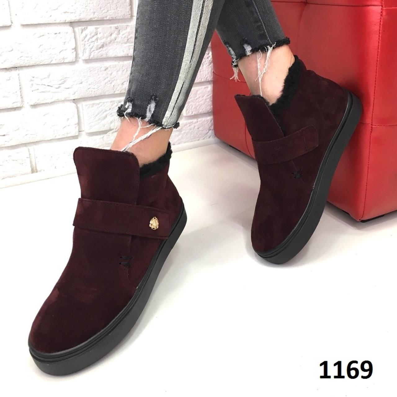 7261a112 Замшевый зимний ботинок (хайтопы) бордовый от компании