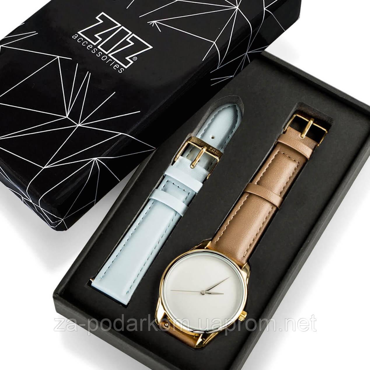 """Годинник """"Сіро-коричневий мінімалізм"""" подарунок жінці, чоловікові"""