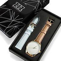 """Часы """"Серо-коричневый минимализм"""" подарок женщине, мужчине, фото 1"""