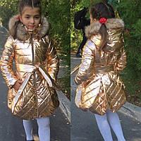 """Стеганое детское пальто для девочки """"OLLA"""" с карманами и капюшоном (3 цвета)"""