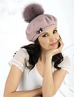 Женский модный беретик Julia с натуральным мехом от Willi Польша