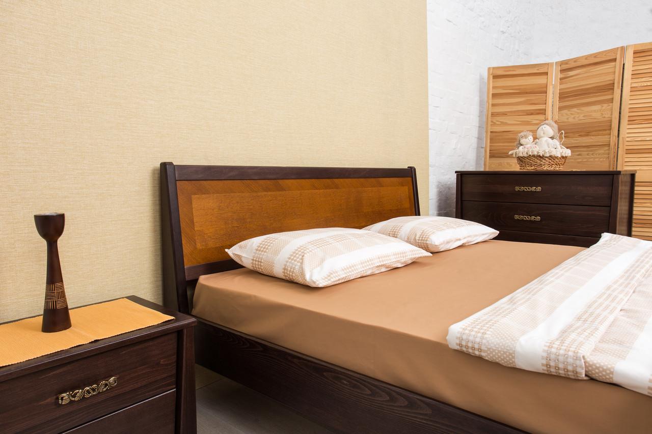 Кровать двуспальная деревянная без изножья (интарсия) Сити Микс мебель, цвет на выбор
