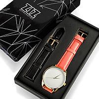 """Часы """"Клубнично-коралловый минимализм"""" подарок женщине, фото 1"""