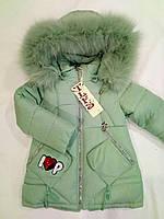 Детская зимняя куртка на девочку р.92-116 мята