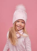 Детская зимняя шапка (набор) для девочек АДЕН  размер 48