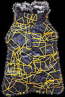 Зимний попон с мехом синий с желтым принтом