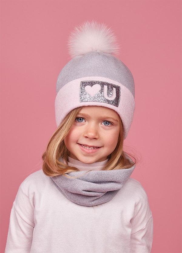 Детская зимняя шапка (набор) для девочек АСОРА оптом размер 48-50-52
