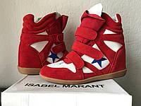 Кроссовки на платформе Isabel marant красные со звездой, фото 1
