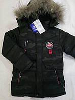 Детская зимняя куртка камуфляж на мальчика  р.110-134  темно-серый