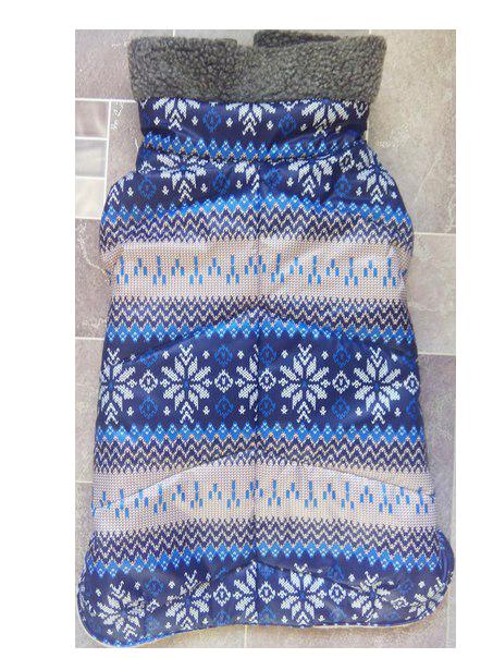 Зимняя попона с мехом синяя снежинка