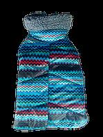 Зимний попон синий зигзаг