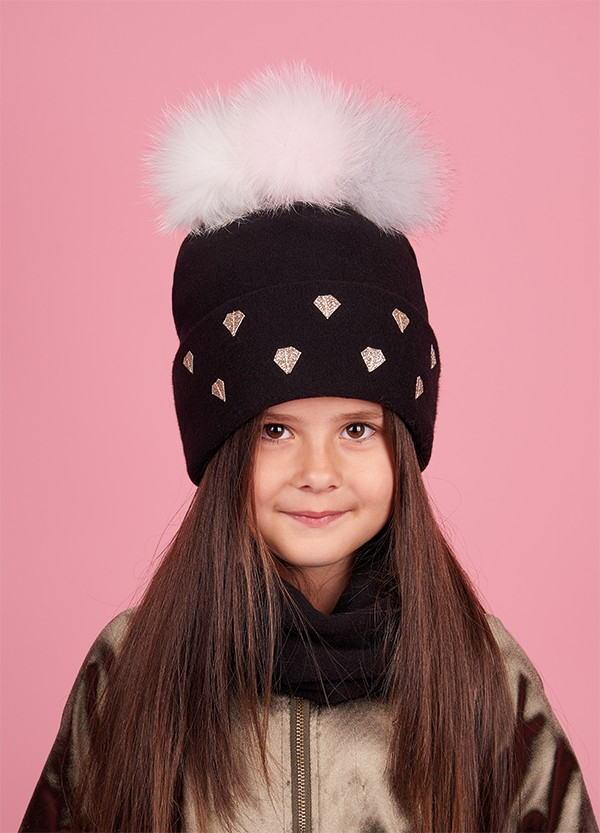 Детская зимняя шапка (набор) для девочек ТАМА оптом размер 50-52-54